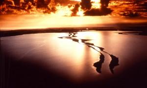Sunset over the Silt jetties